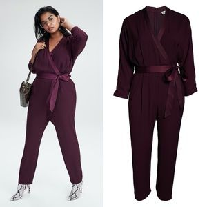 NEW ELIZA J Plum LONG-SLEEVE Wrap FEONT JUMPSUIT